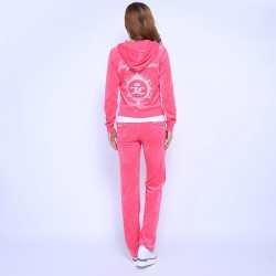 Juicy Couture FW2017 Velour Tracksuit 2pcs Studded Juicy Logo Crown Women Suits Rose