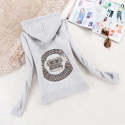 Juicy Couture Logo Crown Velour Jacket 2198 Women Hoody Grey