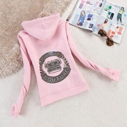 Juicy Couture Logo Crown Velour Jacket 2198 Women Hoody Pink
