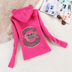 Juicy Couture Logo Crown Velour Jacket 2198 Women Hoody Rose
