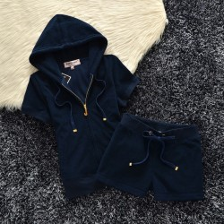 Juicy Couture Original Velour Tracksuit 607 2pcs Women Suits Navy Blue