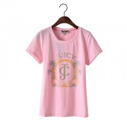 Juicy Couture Palm Trees Graphic Tee T009 Women T-Shirt Pink