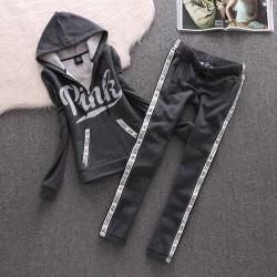 Juicy Couture Pink Velour Tracksuit 8005 2pcs Women Suits Black