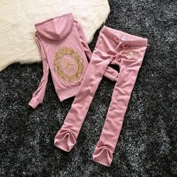 Juicy Couture Sequin Crown Velour Tracksuit 601 2pcs Women Suits Light Pink