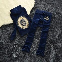 Juicy Couture Sequin Crown Velour Tracksuit 601 2pcs Women Suits Navy Blue