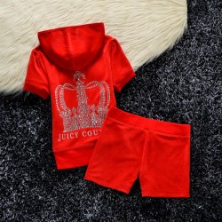 Juicy Couture Studded Crown Velour Tracksuit 609 2pcs Women Suits Red