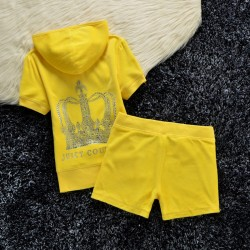 Juicy Couture Studded Crown Velour Tracksuit 609 2pcs Women Suits Yellow