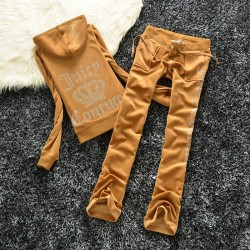 Juicy Couture Studded Logo Crown Velour Tracksuit 605 2pcs Women Suits Brown