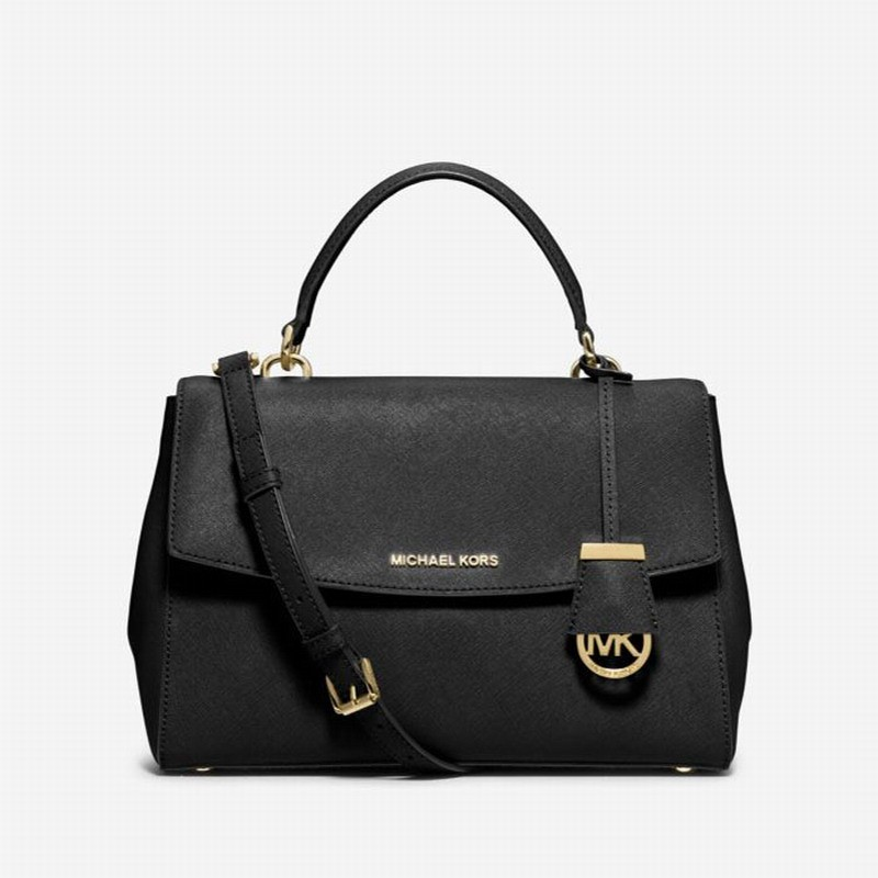 MICHAEL Michael Kors Ava Medium Saffiano Leather Satchel Black