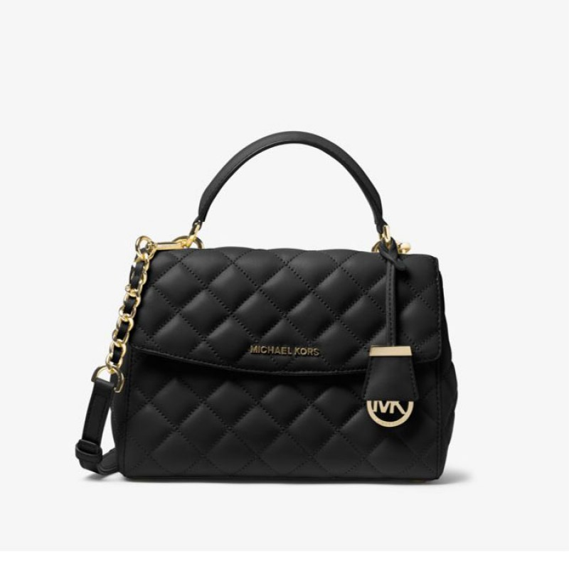 MICHAEL Michael Kors Ava Small Quilted-Leather Satchel Black