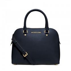 MICHAEL Michael Kors Cindy Saffiano Leather Satchel Navy Blue