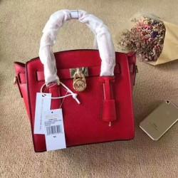 MICHAEL Michael Kors Hamilton Small Leather Satchel Red
