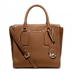 MICHAEL Michael Kors Selby Large Pebbled-Leather Satchel Brown