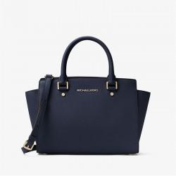 MICHAEL Michael Kors Selma Saffiano Leather Satchel Navy Blue