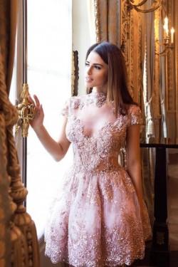 Rosa Cocktailkleider Mit Ärmel Spitze Abendkleider Kurz Günstig