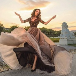 Elegante Abendkleider Schwarz Mit Spitze Ärmel Abendkleid Lang Günstig