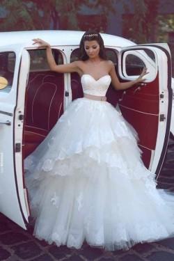 Günstig Weiß Brautkleider Spitze online Schleife Brautmoden Hochzeitskleider Online Bestellen