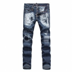 Philipp Plein SS2017 Mens Long Jeans Straight Cut Holes Navy