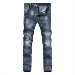 Philipp Plein SS2017 Mens Long Jeans Straight Holes Patchs Navy
