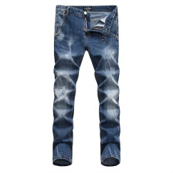 Philipp Plein SS2017 Mens Long Jeans Straight Paint Point Navy