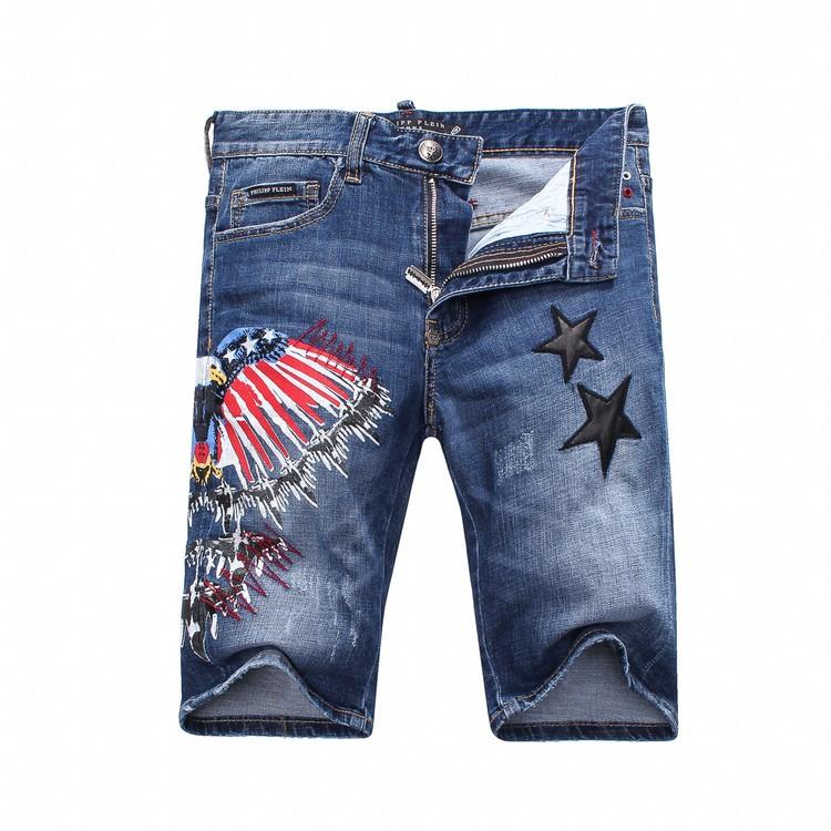 Philipp Plein SS2017 Mens Short Jeans Bermuda Eagles print stars Navy
