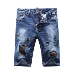 Philipp Plein SS2017 Mens Short Jeans Hole Camouflage Navy