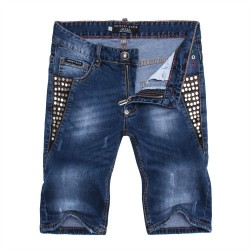 Philipp Plein SS2017 Mens Short Jeans Straight Rivets Cool Navy
