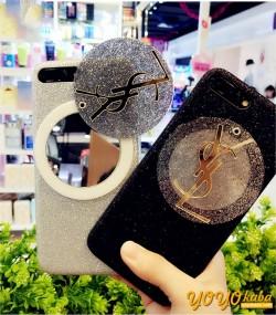iPhoneX/8 プラス 携帯ケース イヴ・サンローラン iphone8plusケース キラキラ ysl 鏡ケース 可愛い