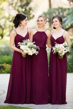 Elegante Burgundy Brautjungfernkleider Lang Chiffon Etuikleid Für Brautjungfern