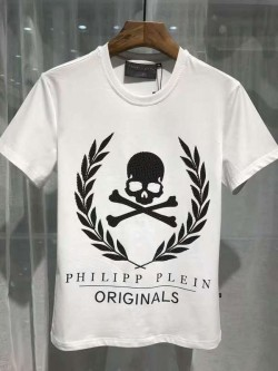 Philipp Plein SS2017 Mens T-Shirt Golden Skull White