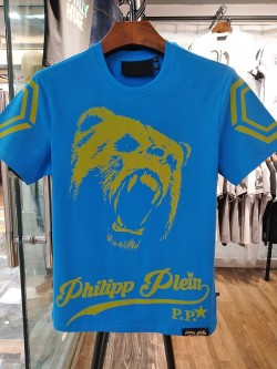 Philipp Plein SS2017 Mens T-Shirt Roar Bear Head Blue