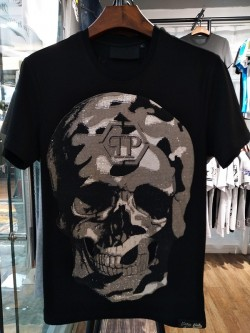 Philipp Plein SS2017 Mens T-Shirt Routine Skull Black