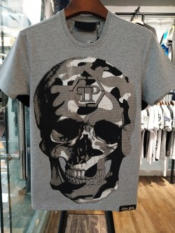 Philipp Plein SS2017 Mens T-Shirt Routine Skull Grey