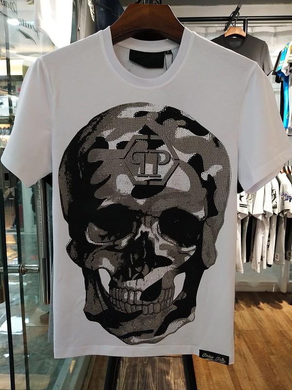 Philipp Plein SS2017 Mens T-Shirt Routine Skull White