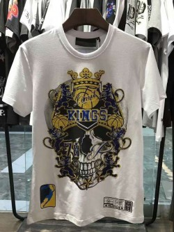 Philipp Plein SS2017 Mens T-Shirt Skull Kings White