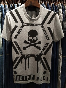 Philipp Plein SS2017 Mens T-Shirt Skull Print Grey