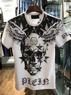 Philipp Plein SS2017 Mens T-Shirt Starry Skull Wings White