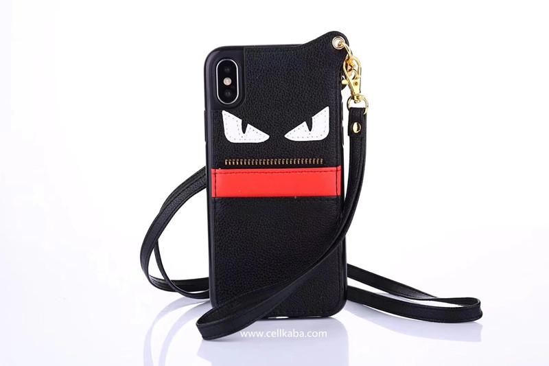 フェンディ iphoneXケース ハンドストラップ付き iphone8plusケース FENDI 芸能人愛用
