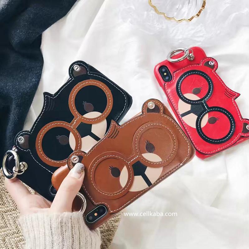 オリジナル カッコイイ熊 アイフォン xケース カード入れ iphone8ケース 可愛い カップル シンプル