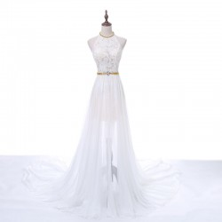 Fashion Long White Beaded Lace Halter Neck Evening Prom Formal Dress With Silt [PS1703] –  ...