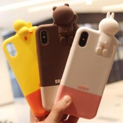 大人気APP line ライン iphoneX ケース クマ ブラウン 立体的 飾り アイフォン8 可愛い カバー 萌え系  ...