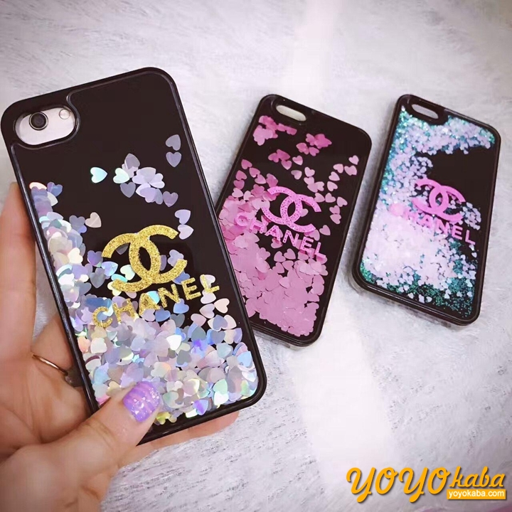 シャネル iPhone7/X/8 plus 携帯ケース お洒落 アイフォン8 プラス カバー 大人気 流砂 キラキラ