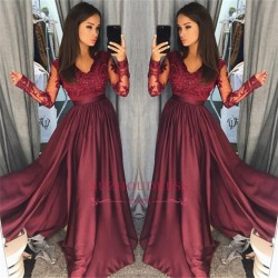 Long Sleeve Burgundy Lace Prom Dress 2018 Cheap V-neck New Arrival Formal Evening Dress with Spl ...