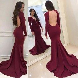 Sexy Burgundy Long Sleeves Evening Dresses 2018 Backless Mermaid V-Neck Prom Dresses_Evening Dre ...
