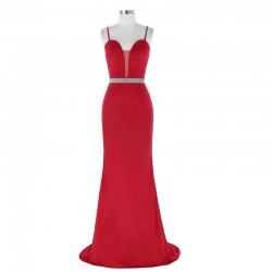 Sexy Spaghetti Straps Sweetheart Sheer Insert Red Evening Dresses With Beaded Belt [ES1708] &#82 ...