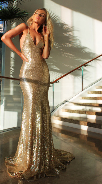 Deep V-neck Open Back Sexy Formal Evening Dresses 2017 Mermaid Sequins Prom Dress BA3586_Dresses ...