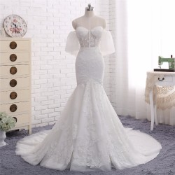 2018 Fashion Strapless Lace Appliques Off Shoulder Mermaid Bridal Gown with Sheer Bodice [WS1712 ...