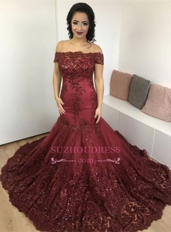 2018 Glamorous Burgundy Mermaid Appliques Lace Off-the-Shoulder Evening Dress_Evening Dresses_20 ...