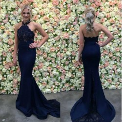 Long Navy Appliques Lace Mermaid Gorgeous Halter Evening Dress_2017 New Evening Dresses_Evening  ...