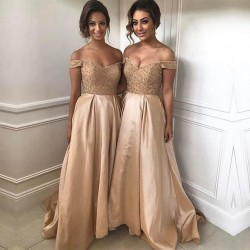 Off The Shoulder Bridesmaid Dresses 2018 Champagne Gold Sequins Dress for Maid of Honor_Bridesma ...